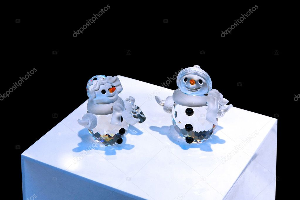 Two small decorative snowmen made from crystal  Stock Photo #3164312