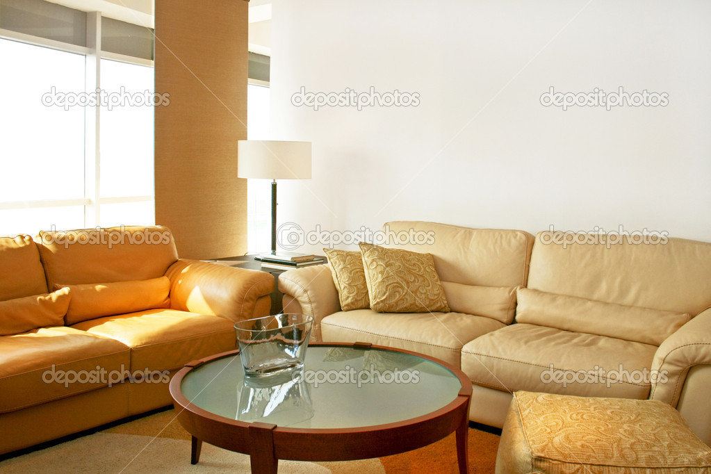 Bright living room with two leather sofas  Stock Photo #3164695