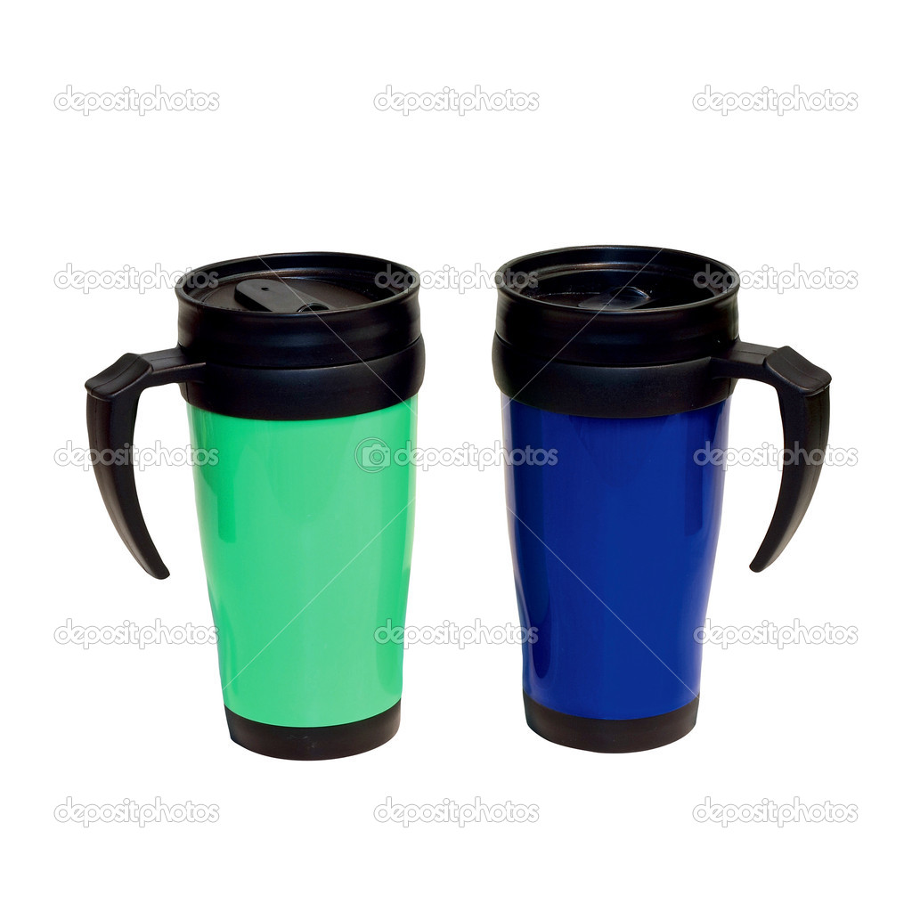 Two take a way thermoses isolated included clipping path — Stock Photo #3189713