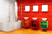 Red bathroom — Stock Photo
