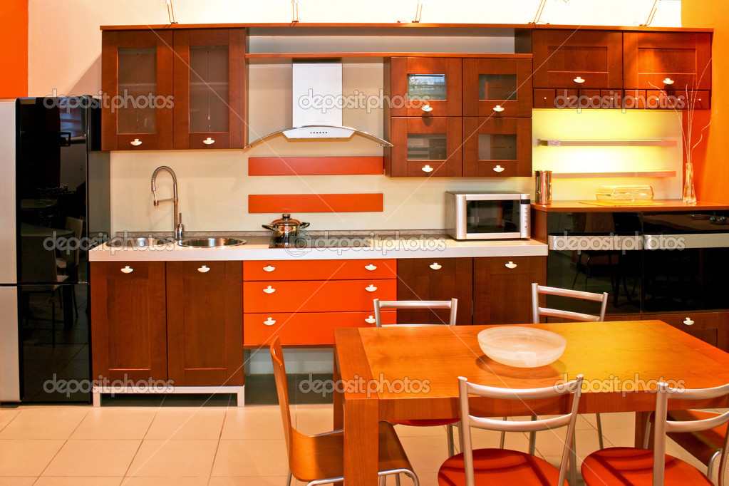 Wooden kitchen and dinning with orange details  Stock Photo #3204844