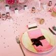 Wedding table pink — Stock Photo