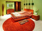 Green bedroom big — Stock Photo