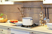 Stove and pot — Stock Photo