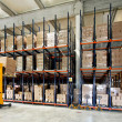 Stock Photo: Forklifter warehouse