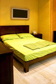 Double green bed — Stock Photo
