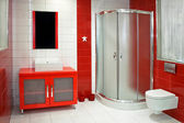 Red bathroom — Stock fotografie