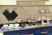 Blue kitchen detail — Stock Photo