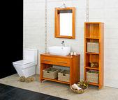 Wooden bathroom — Stock Photo