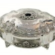 Silver oval box — Stock Photo
