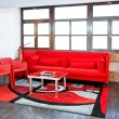 Red living room — 图库照片
