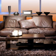 Brown sofa — Stockfoto