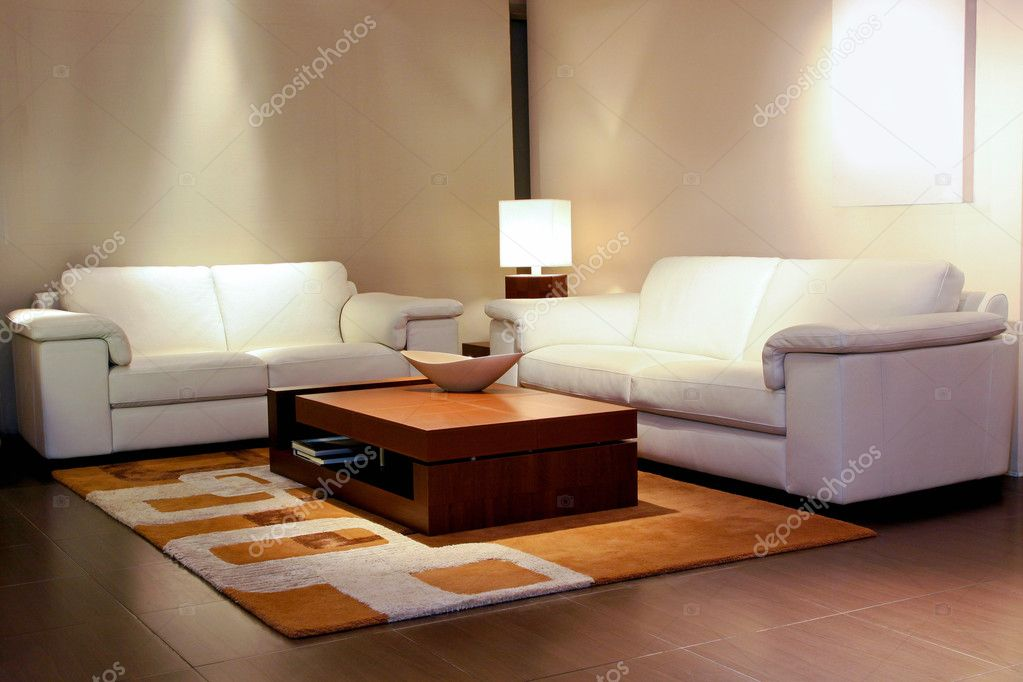 Tidy living room space with white leather furniture — Stock Photo #3466955