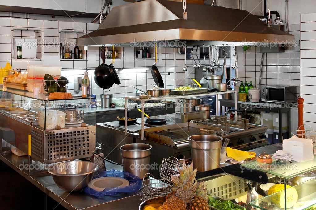 Interior of professional chef kitchen in restaurant — Stock Photo #3467235