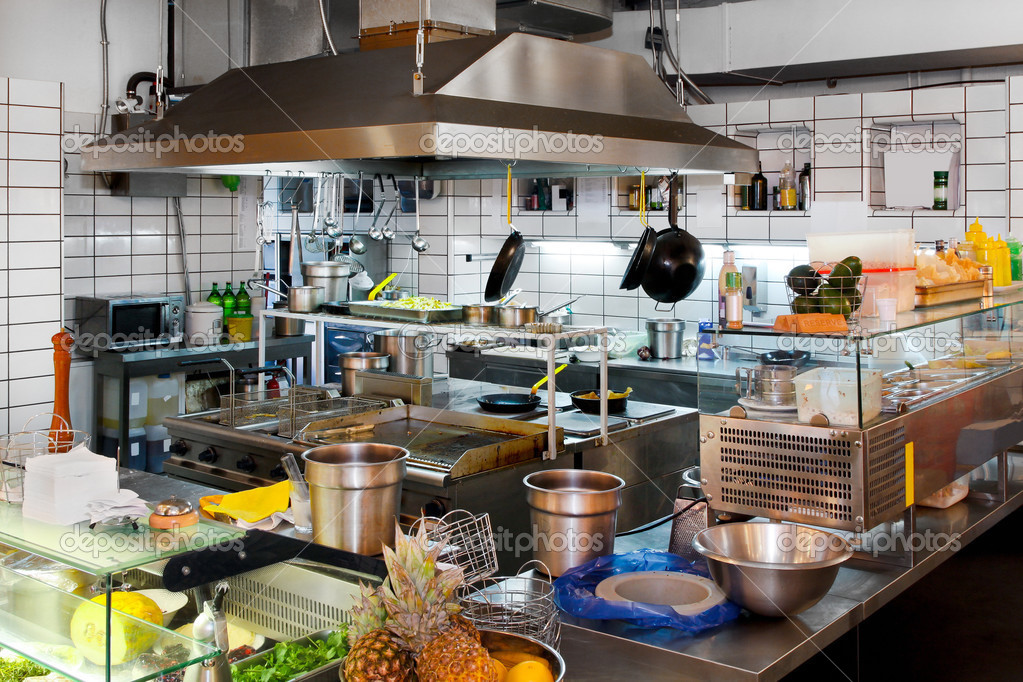 Interior of professional chef kitchen in restaurant  Stock Photo #3492627