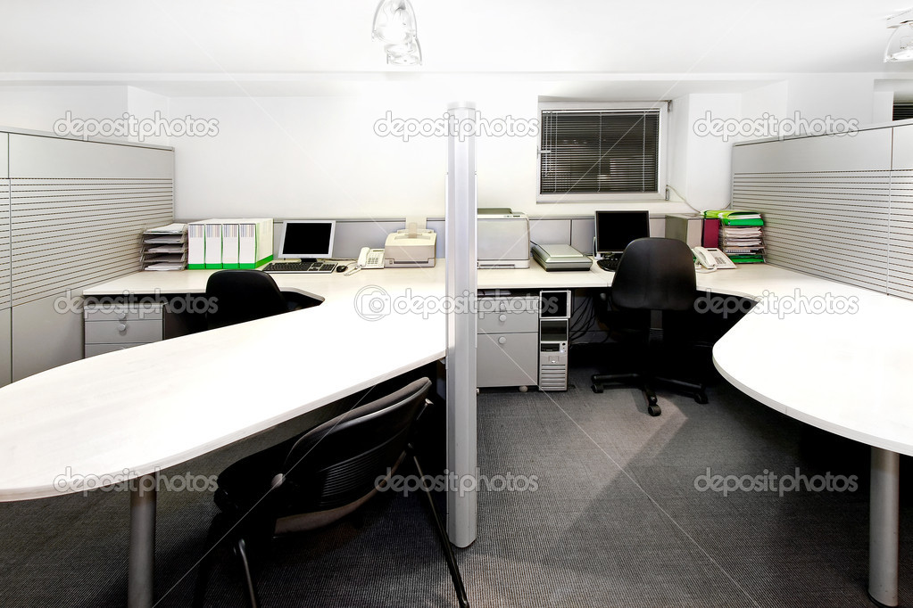 Modern office cubicles divided with folding screens — Stock Photo #3509123