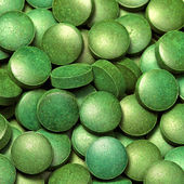 Green algae pills — Stock Photo