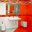 Red bathroom — Stock Photo