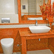 Terracotta bathroom — Stock Photo