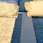Blue bedding — Stock Photo