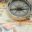 Stock Photo: Compass on map