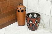 Vasos de madeira — Fotografia Stock