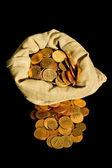 Money and sack — Stock Photo