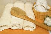 Ręczniki i wiadro — Zdjęcie stockowe