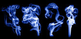 Real smoke wavy trail effects colored background — Stock Photo