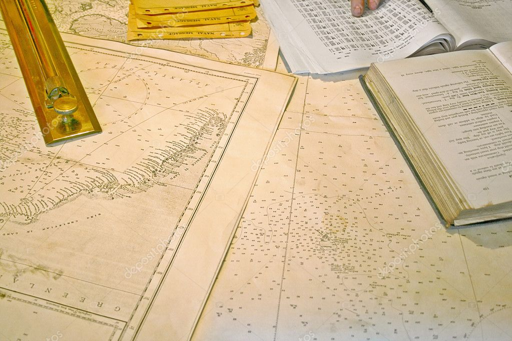 Close up view of nautical cartography maps — Stock Photo #3675022