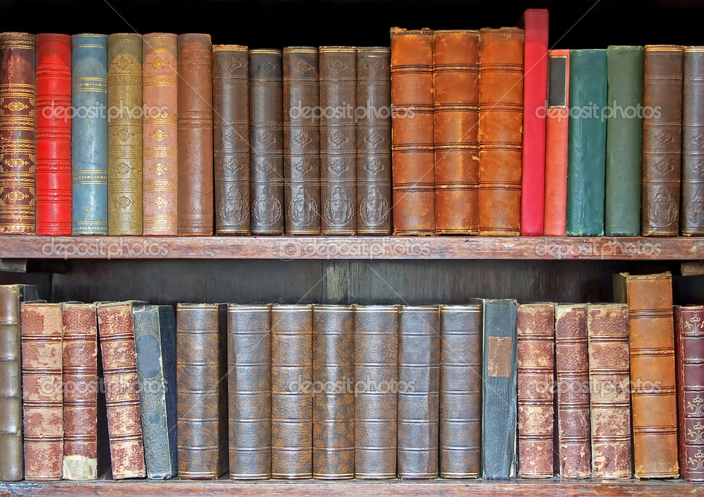 Medieval leather books in two rows closeup  — Stock Photo #3706336