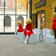 Red dress mannequins — Foto de Stock