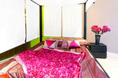 Canopy double bed — Stock Photo