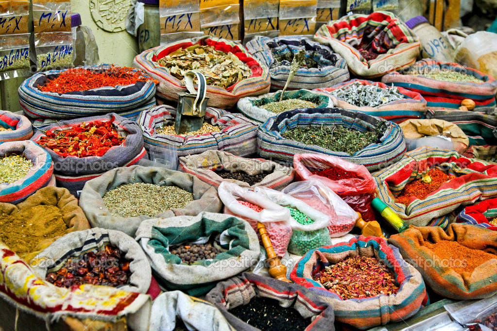 Spices sold on Cairo market in sacks — Stock Photo #3859815