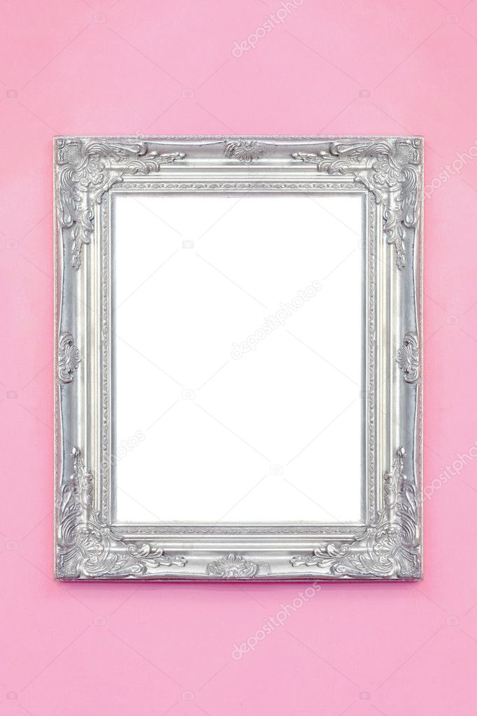Rustic silver frame over pink wall isolated included clipping path — Stock Photo #3860102