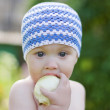 The boy with the apple — Stock Photo