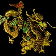 Stock Photo: Chinese dragon, embroidery on textile