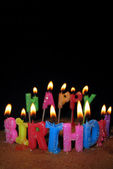 Happy Birthday Candles and Cake — Stock Photo