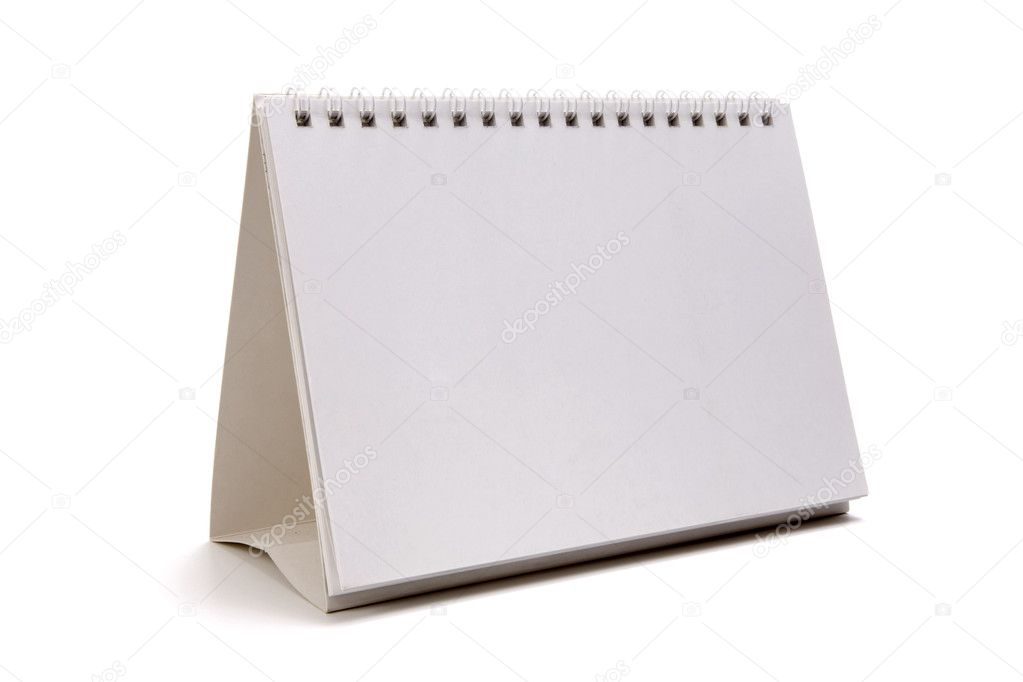 Desktop Calendar - pyramid, spiral binding, blank. Add your picture or message here. Isolated on white  Stock Photo #2867815