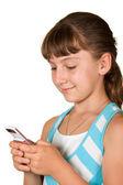 Het meisje met mobiele telefoon — Stockfoto