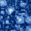 Abstract Cubist Fractal Blue Background - Stock Photo