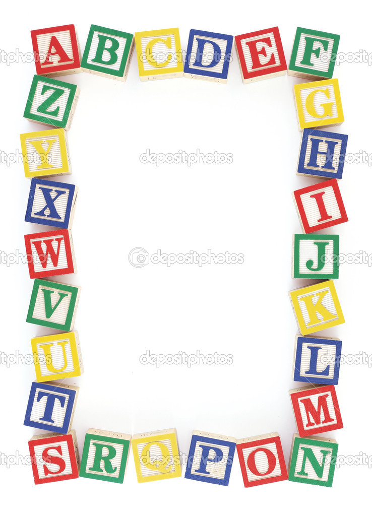 Wooden alphabet blocks arranged to create a frame on a white background — Stock Photo #3466953