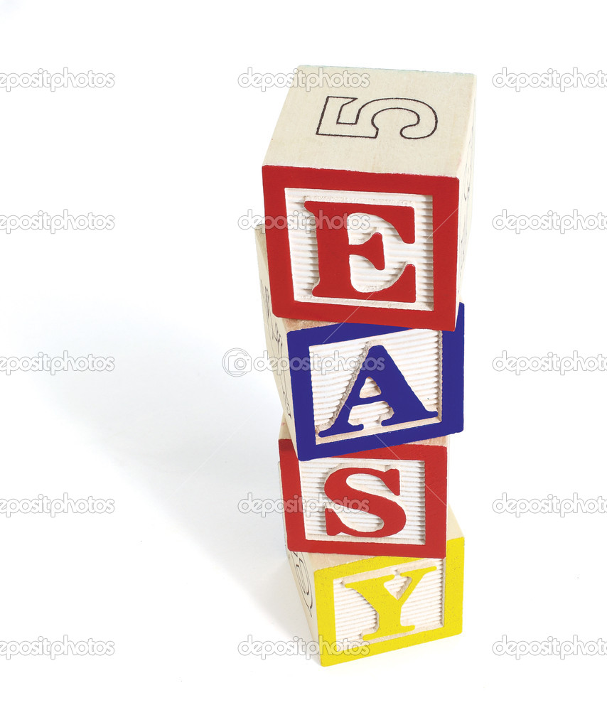 Four wooden alphabet blocks on white background, stacked to form the word, 'easy'. Stack of blocks casts a shadow. — Stock Photo #3504034