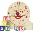 Old Handmade Wooden Toy Clock and Alphabet Blocks - Stok fotoğraf