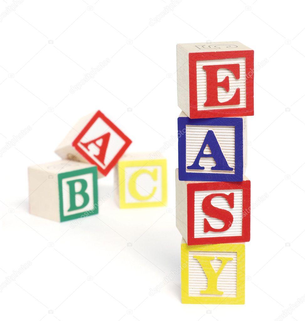 Abc Blocks Stacked Easy abc blocks - stock image