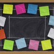 Copy space and notes on blackboard — Stock Photo #2750386