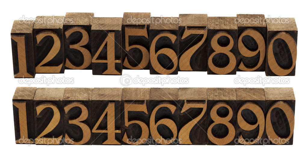 Ten arabic numerals 0-9 in vintage wood letterpress blocks stained by black ink,, flipped horizontally, two compositions, isolated on white — Stock Photo #2866022