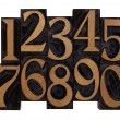 Numbers in vintage wood types — Stock Photo