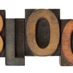 Blog im alten hölzernen Buchdruck-Typ — Stockfoto