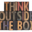Think outside the box, vintage wood type — Stock Photo #2895816